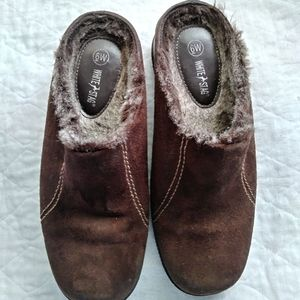 White Stag Fur Lined Suede Clogs Slip on